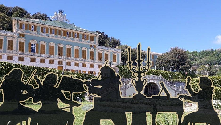 Siloutte di musicisti nel Giardino all'italiana con il palazzo di Villa Duchessa di Galliera sullo sfondo (immagine a scopo puramente indicativo)
